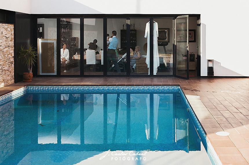 Sala de preparativos novia, piscina